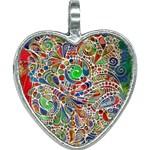 Pop Art - Spirals World 1 Heart Necklace