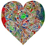 Pop Art - Spirals World 1 Wooden Puzzle Heart