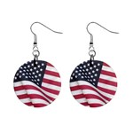 Flapping American Flag Mini Button Earrings