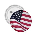 Flapping American Flag 2.25  Button Pin