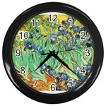Irises,_1889,_Vincent_Van_Gogh Wall Clock (Black)