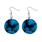Blue Butterfly Grunge 1  Button Earrings