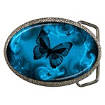 Butterfly grunge blue Belt Buckle