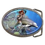 Mermaid and Dolphin Belt Buckle