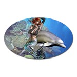 Mermaid And Dolphin Magnet (Oval)