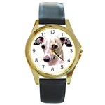 Italian Greyhound ^ Round Gold Metal Watch