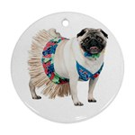 Pug In A Dress ^ Round Ornament (Two Sides)