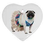 Pug In A Dress ^ Heart Ornament (Two Sides)