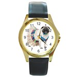 Pug In A Dress ^ Round Gold Metal Watch