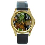 Baby Turtles Round Gold Metal Watch