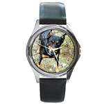 doberman pinscher Round Metal Watch