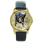 doberman pinscher Round Gold Metal Watch
