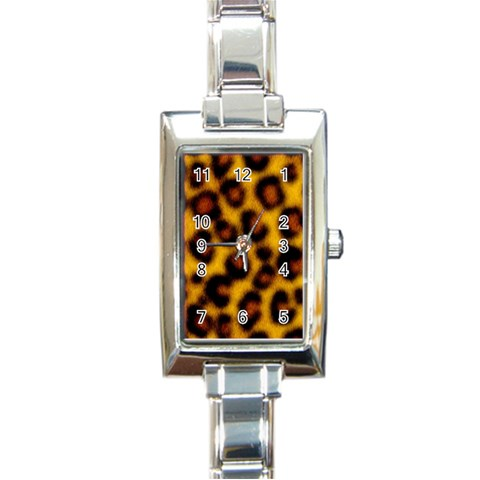 Animal Print Watch By Tammy Gatten   Rectangle Italian Charm Watch   E2d1l0jlraux   Www Artscow Com Front