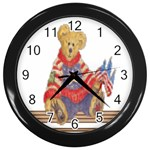 patrotic bear Wall Clock (Black)