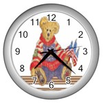 patrotic bear Wall Clock (Silver)