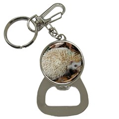 Hedgehog in Leaves Bottle Opener Key Chain from ArtsNow.com Front