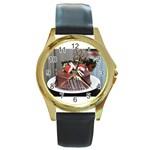 2 Round Gold Metal Watch