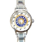 zodiac clock face 340 Round Italian Charm Watch
