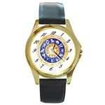 zodiac clock face 340 Round Gold Metal Watch