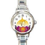 YOGA MEDITATION STRESS MANAGEMENT ROUND ITALIAN CHARM WATCH