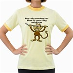 Rally Monkey Women s Fitted Ringer T-Shirt