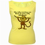 Rally Monkey Women s Yellow Tank Top