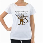 Rally Monkey Maternity White T-Shirt