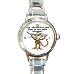 Rally Monkey Round Italian Charm Watch
