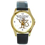 Rally Monkey Round Gold Metal Watch