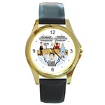 Jersey Devils Round Gold Metal Watch