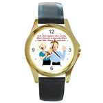 Lil Avs Fan Round Gold Metal Watch