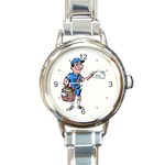 MAILMAN MAIL CARRIER ROUND ITALIAN CHARM WATCH