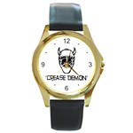 Crease Demon Round Gold Metal Watch
