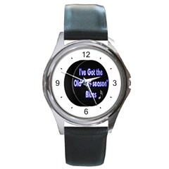 Off Season Hockey Blues Round Metal Watch from ArtsNow.com Front