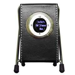 Off Season Hockey Blues Pen Holder Desk Clock from ArtsNow.com Front