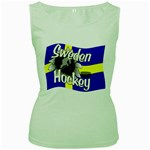 Sweden Hockey Women s Green Tank Top