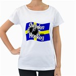 Sweden Hockey Maternity White T-Shirt