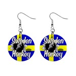 Sweden Hockey 1  Button Earrings