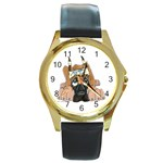 CF Pup space for rent Round Gold Metal Watch