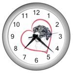 NMtlMrl Dots Heartline Wall Clock (Silver)