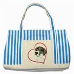 NMtlMrl Dots Heartline Striped Blue Tote Bag