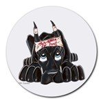 CBlk Pup space for rent Round Mousepad