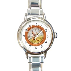 round clock text Round Italian Charm Watch by D617182A