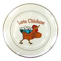 Love chickens Porcelain Plate by zooicidal