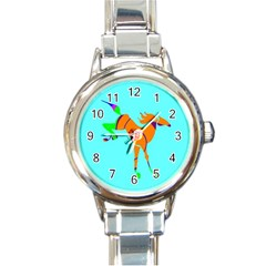 Bucking horse Round Italian Charm Watch from ArtsNow.com Front
