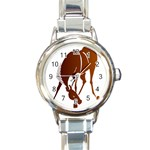 Bowing horse Round Italian Charm Watch