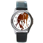Bowing horse Round Metal Watch
