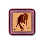 Bowing horse Rubber Square Coaster (4 pack)