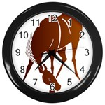 Bowing horse Wall Clock (Black)