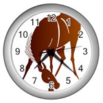 Bowing horse Wall Clock (Silver)